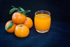 Vidrios de zumo y de frutas de naranja Foto de archivo libre de regalías