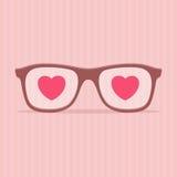 Vidrios del amor - ejemplo del día de tarjetas del día de San Valentín Imágenes de archivo libres de regalías