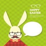 Vidrios del bigote del estilo de Bunny Hipster With Chat Bubble del conejo del día de fiesta de Pascua Fotos de archivo libres de regalías