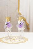 Vidrios del champán de la boda Fotografía de archivo libre de regalías
