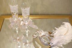 Vidrios del champán de la boda Foto de archivo libre de regalías