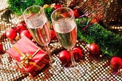 Vidrios del champán del Año Nuevo Fotografía de archivo