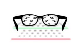 Vidrios del fondo médico de la optometría con el fondo borroso Fotos de archivo