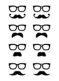 Vidrios del friki e icono del bigote o del bigote Foto de archivo