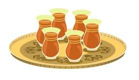 Vidrios del té y bandeja 1 adornada árabe Foto de archivo libre de regalías