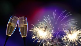 Vidrios del tintineo - ` s Eve/celebración del Año Nuevo Fotografía de archivo