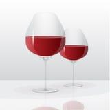 Vidrios del vector con el vino rojo foto de archivo libre de regalías