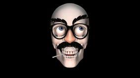 Vidrios divertidos en un cráneo metrajes