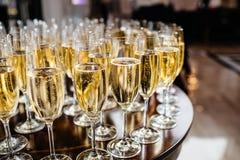Vidrios elegantes con el champán que se coloca en fila en etiqueta de la porción Fotografía de archivo