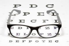 Vidrios en carta de ojo Fotografía de archivo libre de regalías