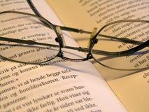 Vidrios en el libro Foto de archivo libre de regalías