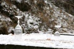 Vidrios en la nieve Imagen de archivo libre de regalías