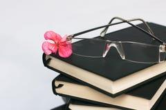 Vidrios en los libros Imagen de archivo libre de regalías