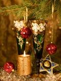 vidrios en un vector festivo del Año Nuevo fotografía de archivo