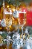 Vidrios en un vector festivo del Año Nuevo Fotografía de archivo libre de regalías