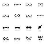 Vidrios fijados iconos del ojo Imagen de archivo libre de regalías