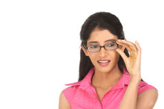 Vidrios indios hermosos de la muchacha imagenes de archivo