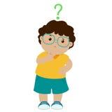 Vidrios marrones del desgaste de la piel del niño pequeño que se preguntan el personaje de dibujos animados libre illustration