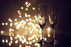 Vidrios para el champán imagenes de archivo