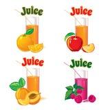 Vidrios para el jugo de la naranja, de la manzana, de la frambuesa y del albaricoque Fotografía de archivo