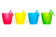 Vidrios plásticos de la comida campestre Foto de archivo libre de regalías