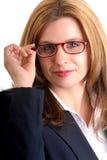 Vidrios que desgastan de la mujer Fotografía de archivo libre de regalías