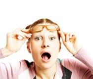 Vidrios que desgastan de la mujer Fotografía de archivo