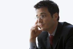 Vidrios que desgastan del hombre de negocios - aislados Fotografía de archivo