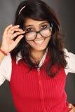 Vidrios que llevan adolescentes hermosos Foto de archivo libre de regalías