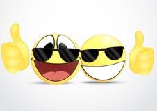 Vidrios que llevan del Emoticon con comercio del pulgar .business Foto de archivo libre de regalías