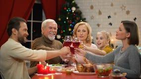 Vidrios que tintinean de la familia amistosa grande con el vino el la víspera de Navidad, mirando a la cámara almacen de metraje de vídeo