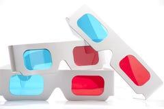vidrios rojos y ciánicos de 3D Imagen de archivo libre de regalías