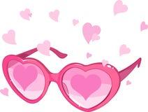 Vidrios rosados de la tarjeta del día de San Valentín Fotografía de archivo