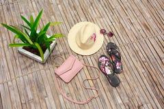 Vidrios, sunblock, bolso femenino rosado, sombrero, rama de bambú, visión superior foto de archivo