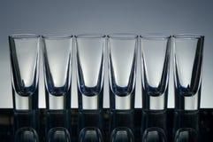 Vidrios vacíos de la vodka Imagen de archivo