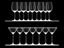 Vidrios vacíos del vino y de Martini Foto de archivo libre de regalías