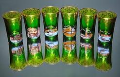 Vidrios verdes en el espejo Imagen de archivo