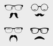 Vidrios y bigotes fijados ilustración del vector
