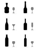 Vidrios y botellas Foto de archivo libre de regalías