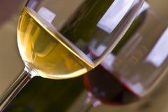 Vidrios y botellas de vino blanco y rojo Imágenes de archivo libres de regalías
