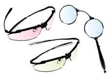 Vidrios y conjunto del vector de las gafas Imágenes de archivo libres de regalías