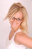 Vidrios y modelo del pelo Imagen de archivo