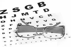 Vidrios y ojo-carta Imagenes de archivo