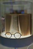 Vidrios y y un libro Foto de archivo