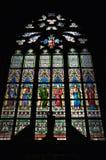 Vidro colorido no castelo em Praha maravilhoso Fotos de Stock Royalty Free