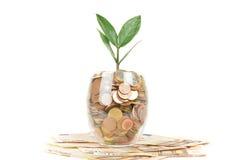 Vidro com as moedas em cédulas do Euro Fotos de Stock Royalty Free