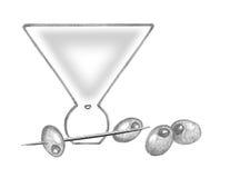 Vidro com azeitonas, picareta de Martini de Martini Fotos de Stock Royalty Free