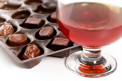 Vidro com conhaque e licor dos doces Fotografia de Stock Royalty Free