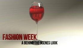 Vidro com vinho, ícone, sinal, ilustração 3D Fotos de Stock Royalty Free