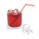 Vidro da água gasosa vermelha Imagem de Stock